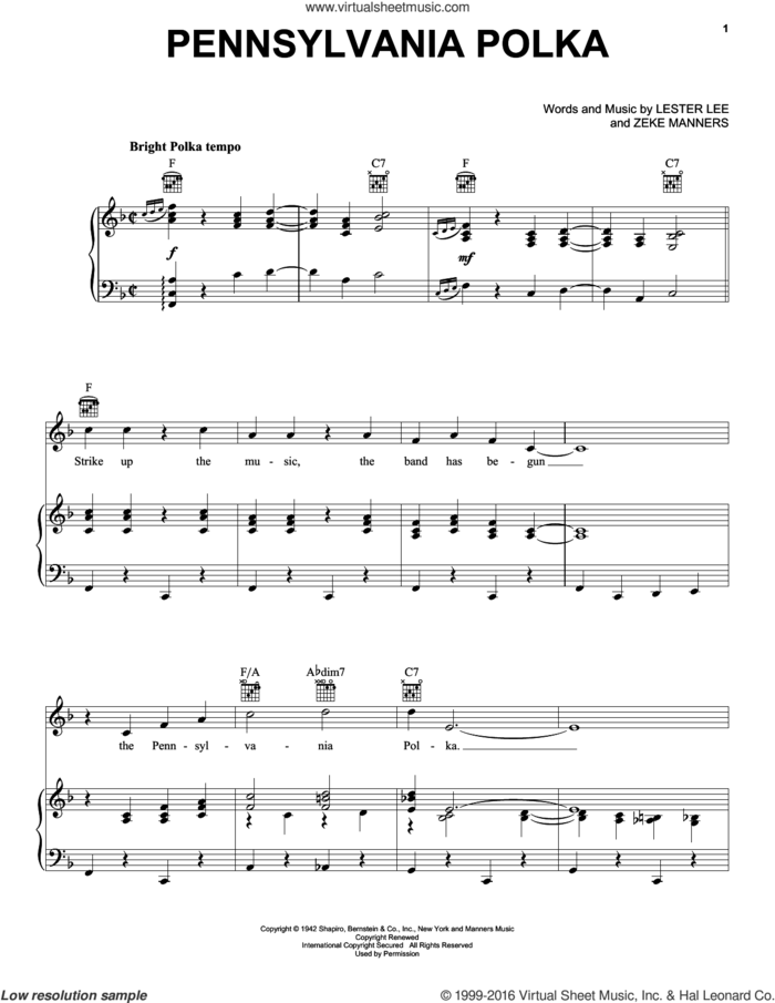 Pennsylvania Polka sheet music for voice, piano or guitar by Lester Lee and Zeke Manners, intermediate skill level