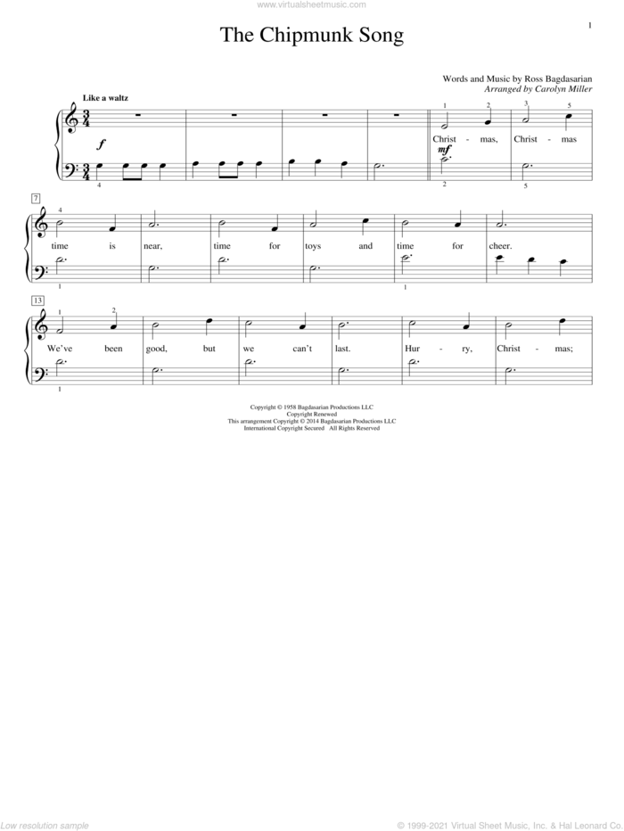 The Chipmunk Song sheet music for piano solo (elementary) by Ross Bagdasarian, Carolyn Miller, Alvin And The Chipmunks and The Chipmunks, beginner piano (elementary)