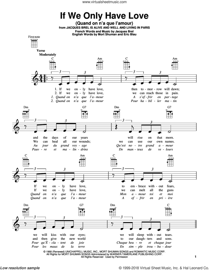 If We Only Have Love (Quand On N'a Que L'amour) sheet music for ukulele by Jacques Brel, Eric Blau and Mort Shuman, intermediate skill level
