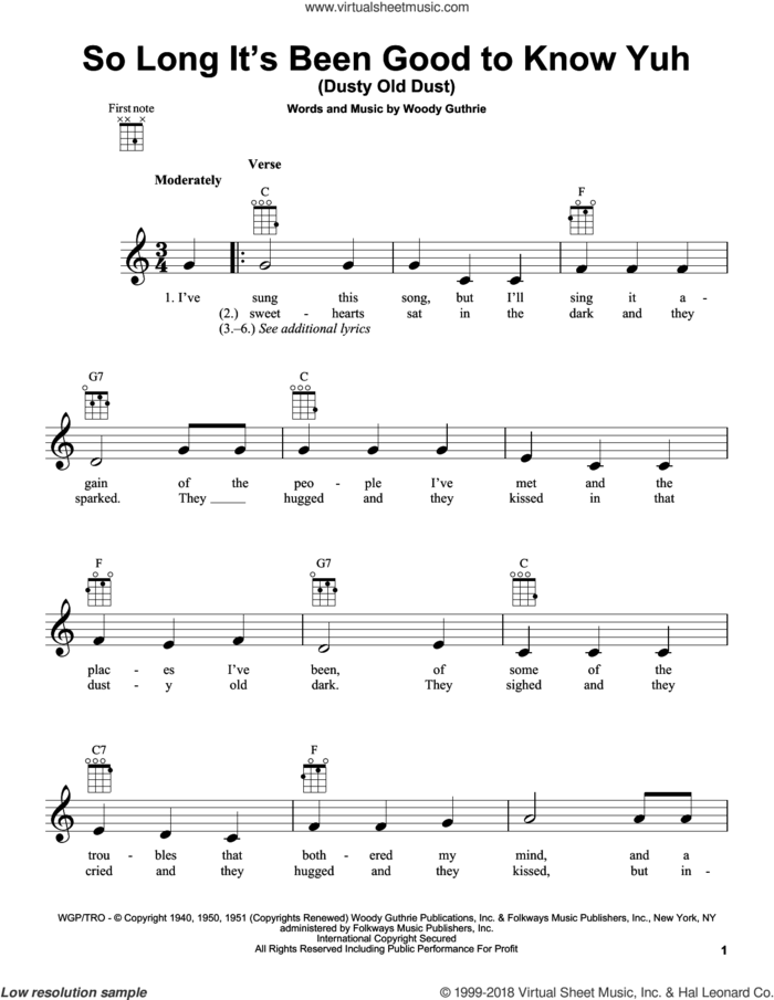 So Long It's Been Good To Know Yuh (Dusty Old Dust) sheet music for ukulele by Woody Guthrie, intermediate skill level