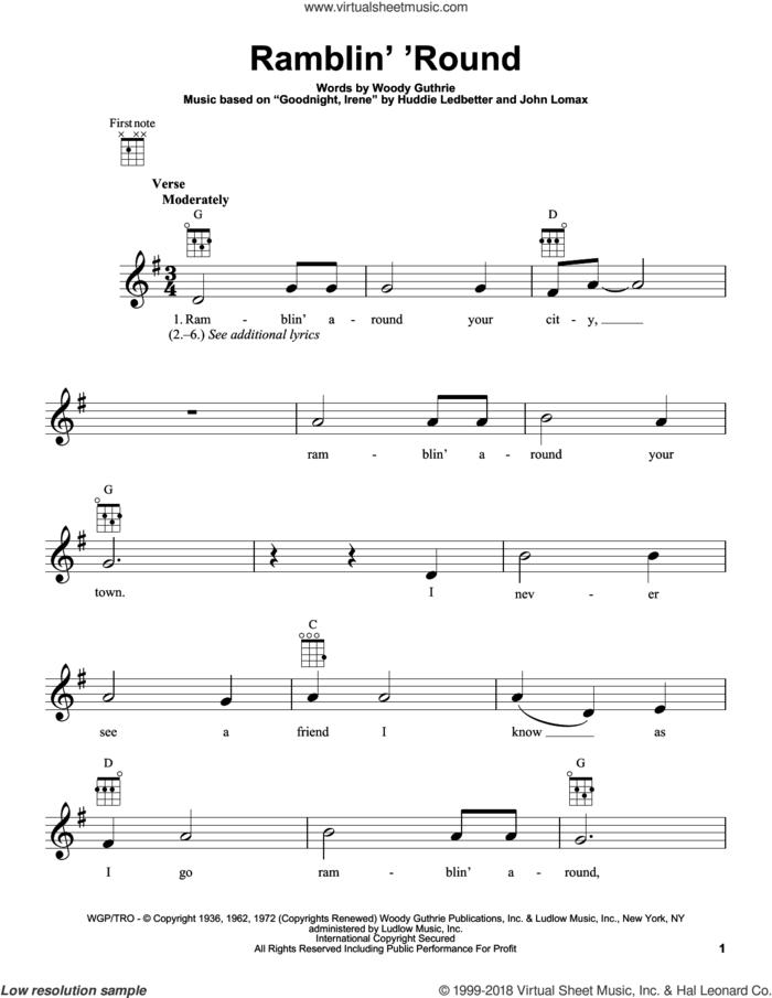 Ramblin' 'Round sheet music for ukulele by Woody Guthrie, Huddie Ledbetter and John A. Lomax, intermediate skill level