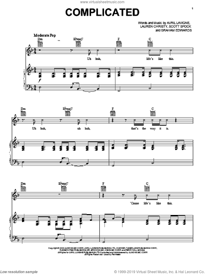 Complicated sheet music for voice, piano or guitar by Avril Lavigne, Graham Edwards and Lauren Christy, intermediate skill level
