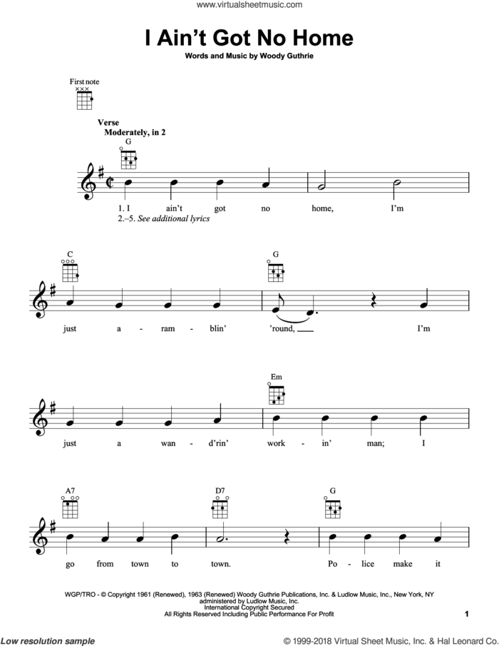 I Ain't Got No Home sheet music for ukulele by Woody Guthrie, intermediate skill level