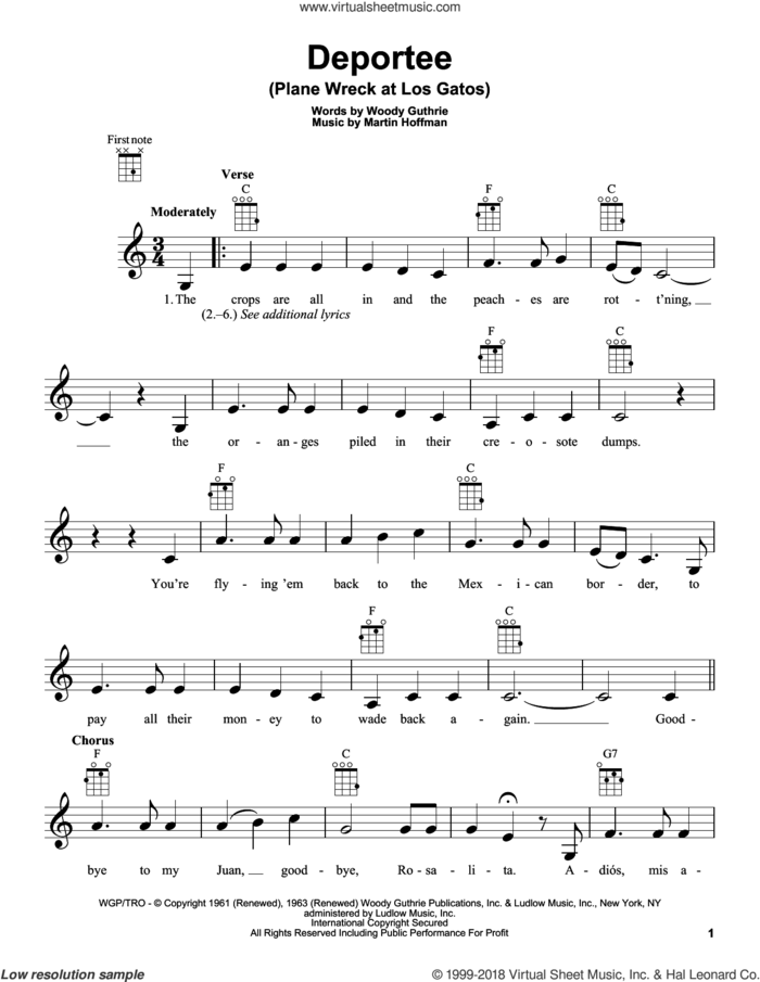 Deportee (Plane Wreck At Los Gatos) sheet music for ukulele by Woody Guthrie and Martin Hoffman, intermediate skill level