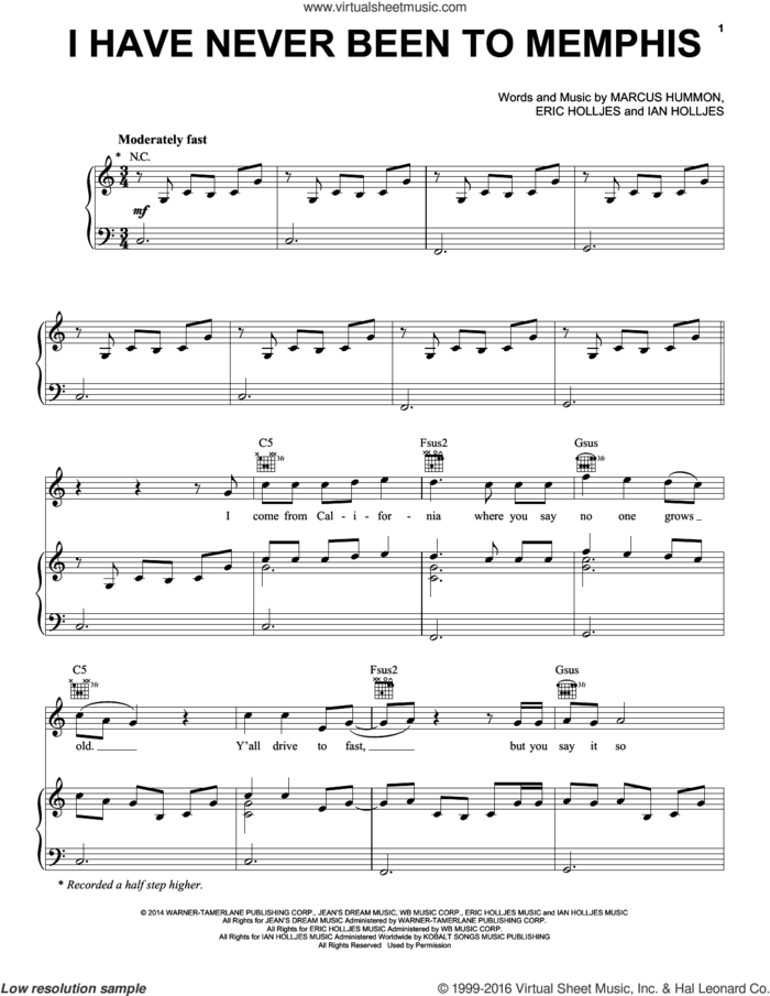 I Have Never Been To Memphis sheet music for voice, piano or guitar by Rascal Flatts, Eric Holljes, Ian Holljes and Marcus Hummon, intermediate skill level