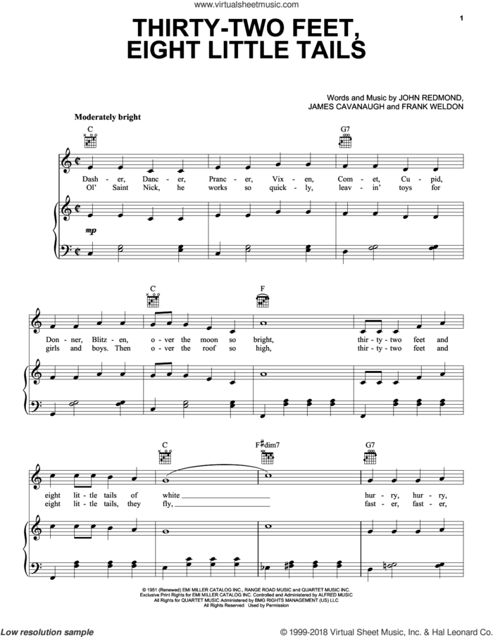 Thirty-Two Feet, Eight Little Tails sheet music for voice, piano or guitar by Gene Autry, Frank Weldon, James Cavanaugh and John Redmond, intermediate skill level