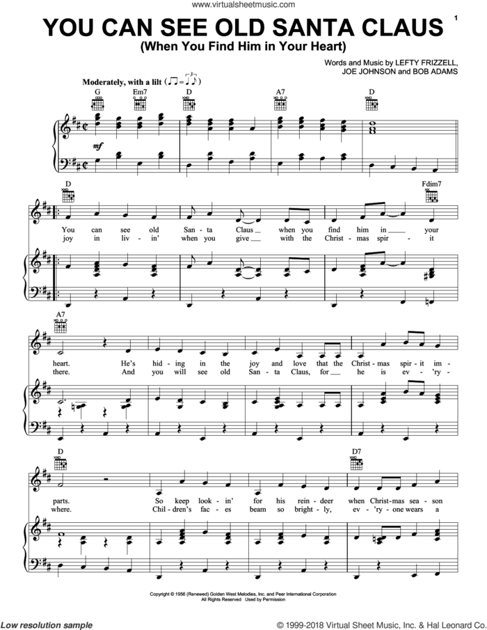 You Can See Old Santa Claus (When You Find Him In Your Heart) sheet music for voice, piano or guitar by Gene Autry, Bob Adams, James A. Beck, Joe Johnson and Lefty Frizzell, intermediate skill level