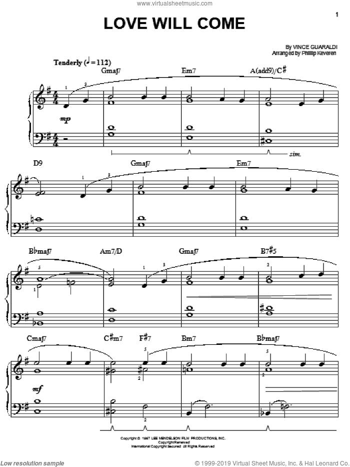 Love Will Come sheet music for piano solo by Vince Guaraldi and Phillip Keveren, easy skill level