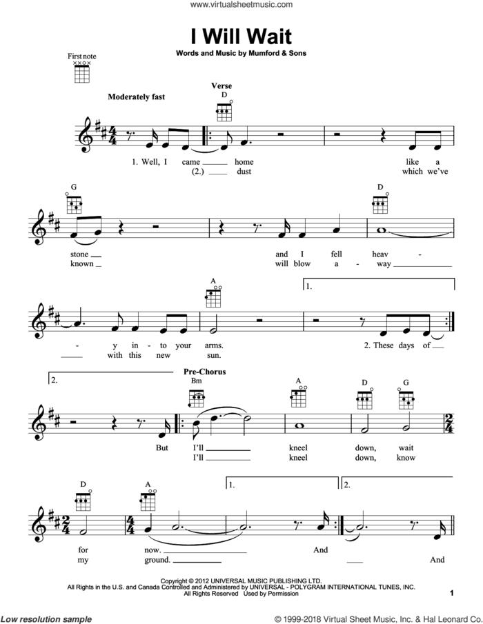 I Will Wait sheet music for ukulele by Mumford & Sons, intermediate skill level