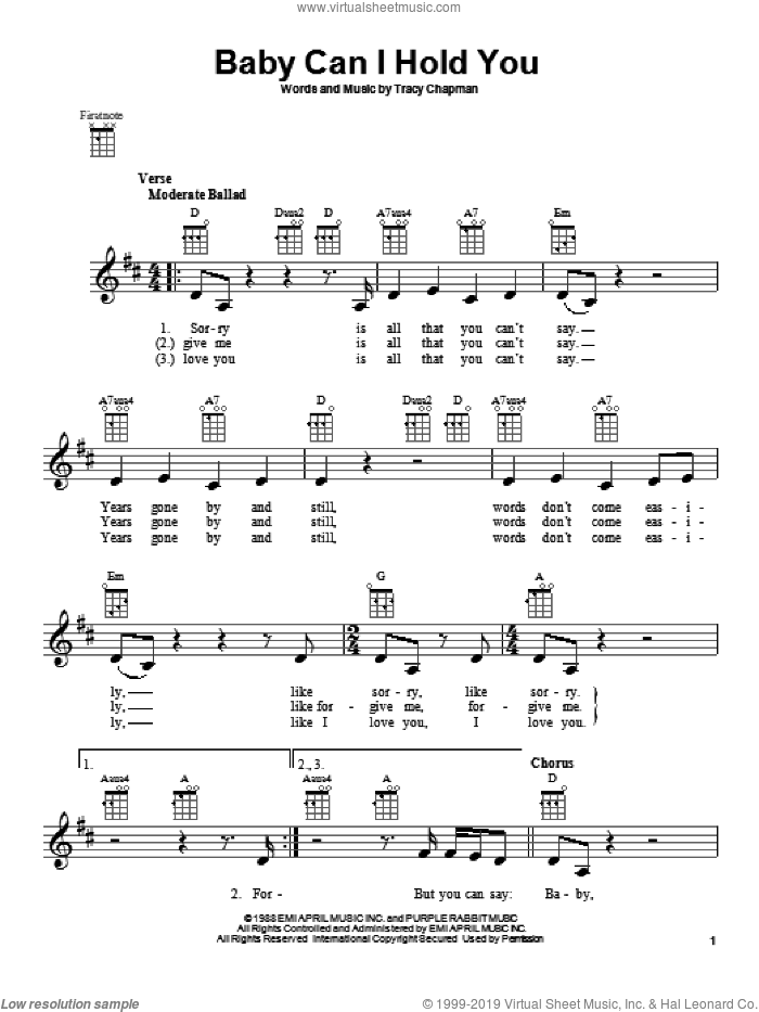 Baby Can I Hold You sheet music for ukulele by Tracy Chapman, intermediate skill level