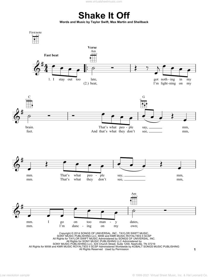 Shake It Off sheet music for ukulele by Taylor Swift, Johan Schuster, Max Martin and Shellback, intermediate skill level