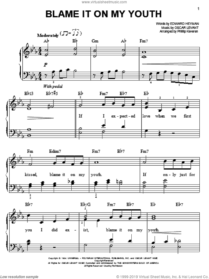 Blame It On My Youth sheet music for piano solo by Connie Francis, Phillip Keveren, Edward Heyman and Oscar Levant, easy skill level