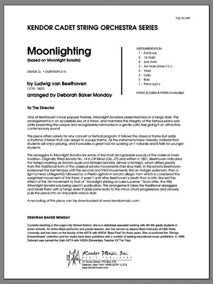 Moonlighting (based on Moonlight Sonata) (COMPLETE) sheet music for orchestra by Ludwig van Beethoven and Deborah Baker Monday, classical score, intermediate skill level