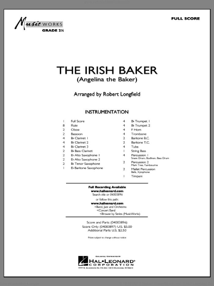The Irish Baker (COMPLETE) sheet music for concert band by Robert Longfield, intermediate skill level