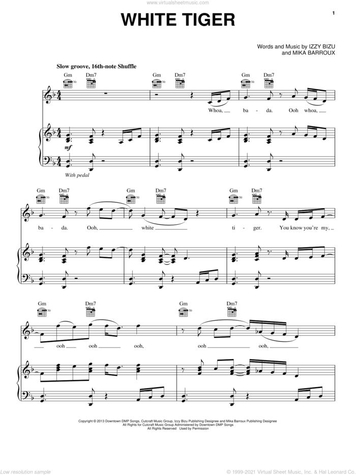 White Tiger sheet music for voice, piano or guitar by Izzy Bizu and Mika Barroux, intermediate skill level