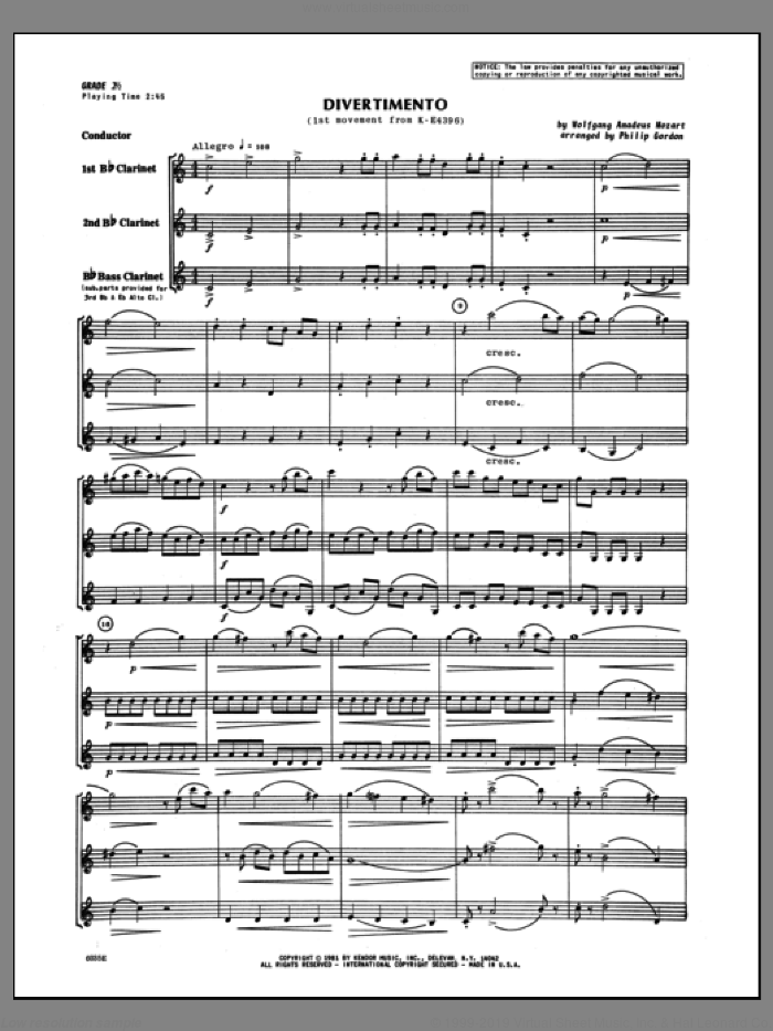 Divertimento (first movement from K439B) (COMPLETE) sheet music for clarinet quartet by Wolfgang Amadeus Mozart and Gordon, classical score, intermediate skill level
