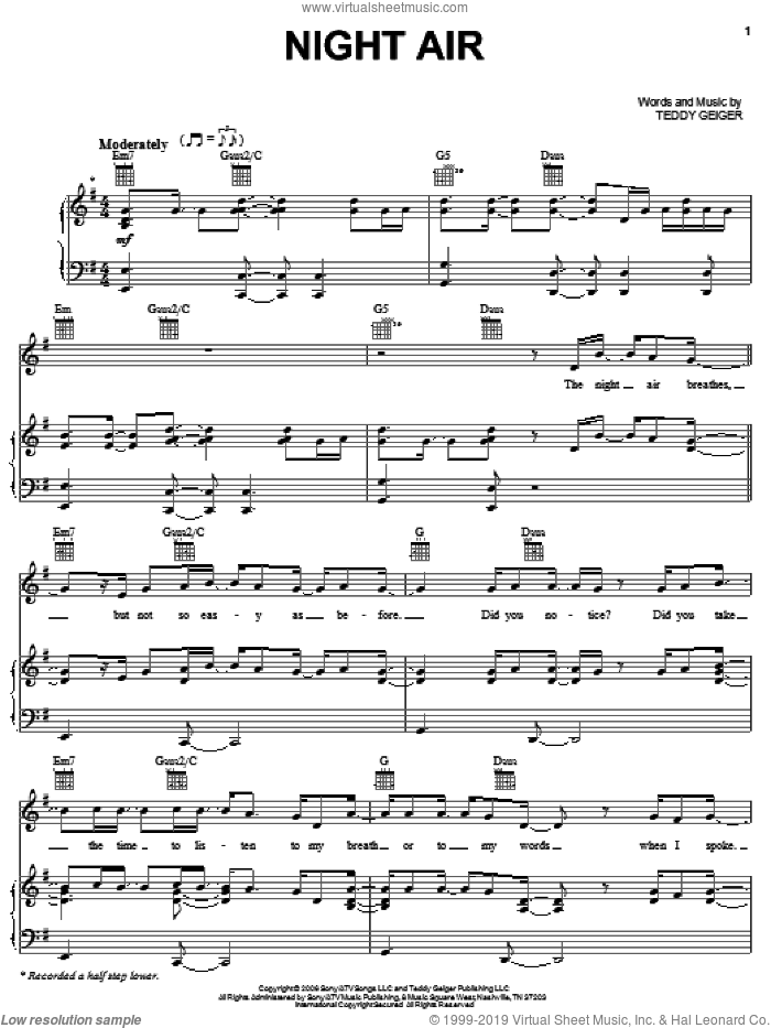 Night Air sheet music for voice, piano or guitar by Teddy Geiger, intermediate skill level