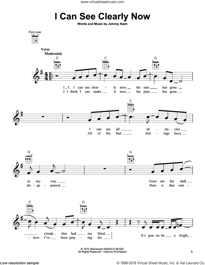 I Can See Clearly Now sheet music for ukulele by Johnny Nash and Jimmy Cliff, intermediate skill level