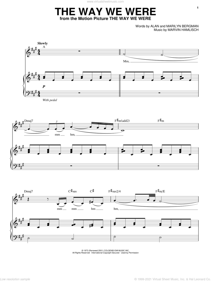 The Way We Were sheet music for voice and piano by Barbra Streisand, Alan Bergman, Marilyn Bergman and Marvin Hamlisch, intermediate skill level