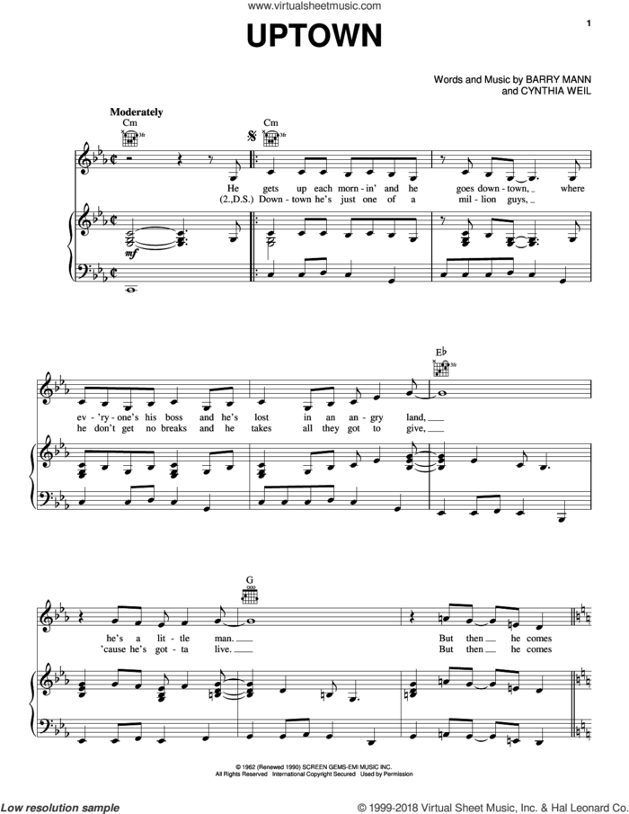Uptown sheet music for voice, piano or guitar by Carole King, The Crystals, Barry Mann and Cynthia Weil, intermediate skill level