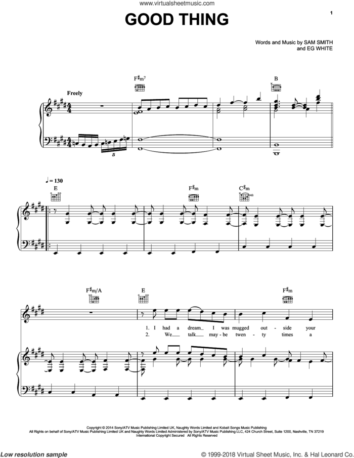 Good Thing sheet music for voice, piano or guitar by Sam Smith and Eg White, intermediate skill level