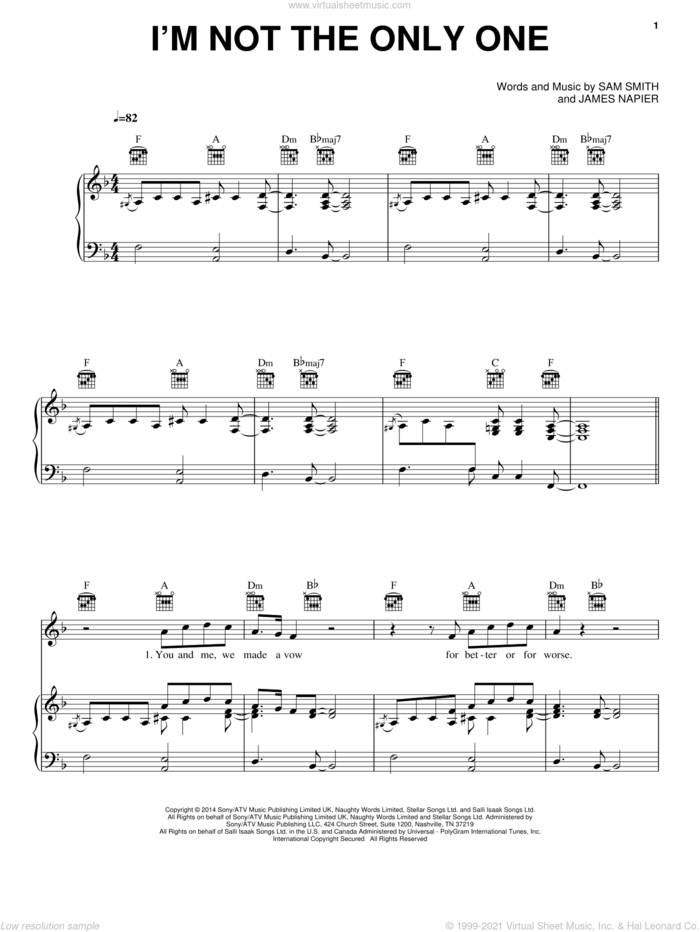 I'm Not The Only One sheet music for voice, piano or guitar by Sam Smith and James Napier, intermediate skill level
