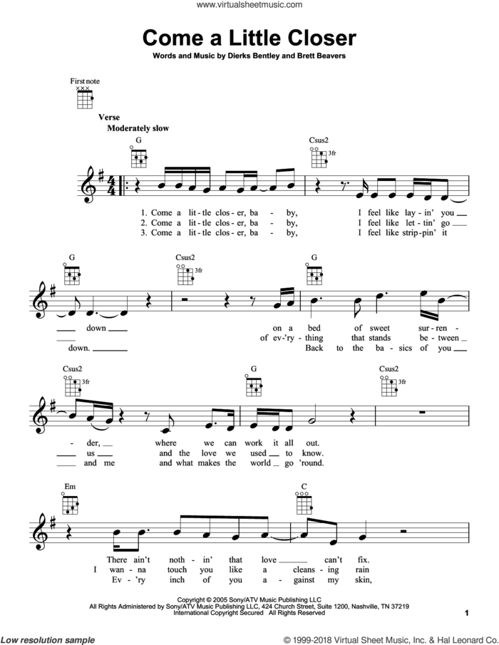 Come A Little Closer sheet music for ukulele by Dierks Bentley and Brett Beavers, intermediate skill level