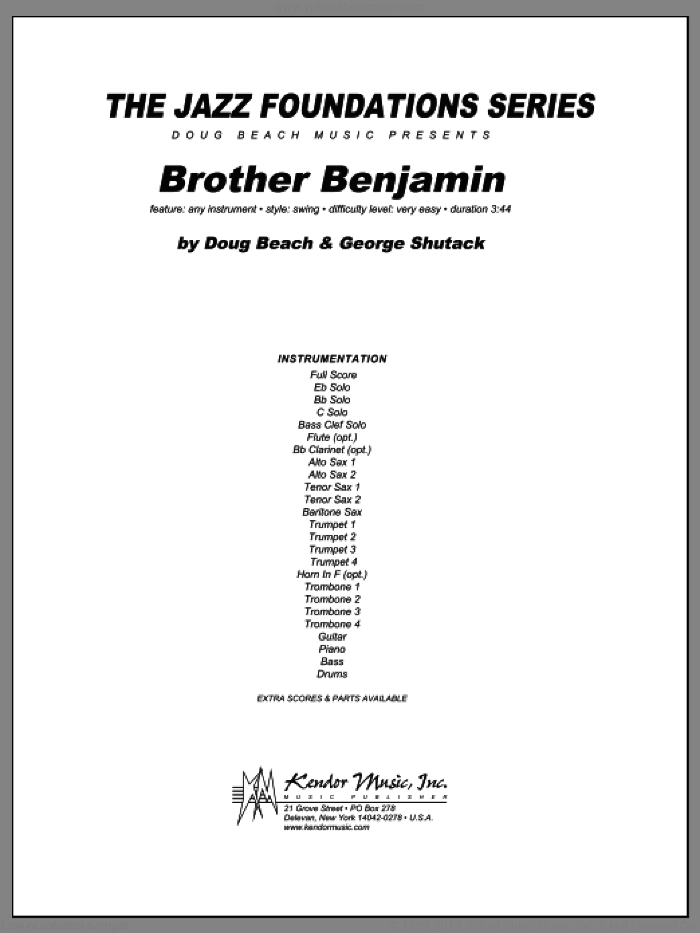 Brother Benjamin (COMPLETE) sheet music for jazz band by Doug Beach & George Shutack, intermediate skill level