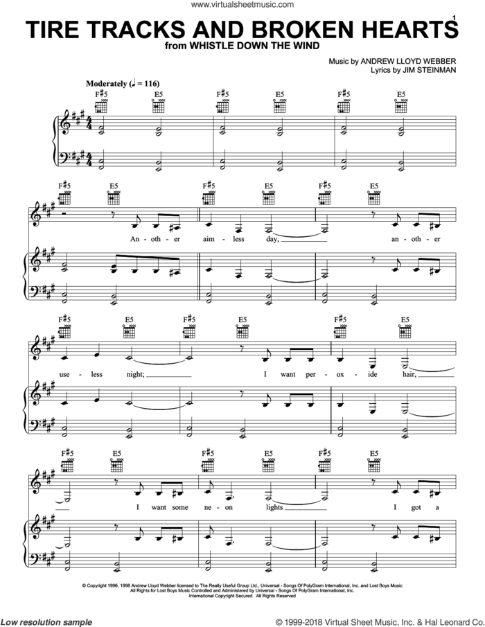 Tire Tracks And Broken Hearts sheet music for voice, piano or guitar by Andrew Lloyd Webber and Jim Steinman, intermediate skill level