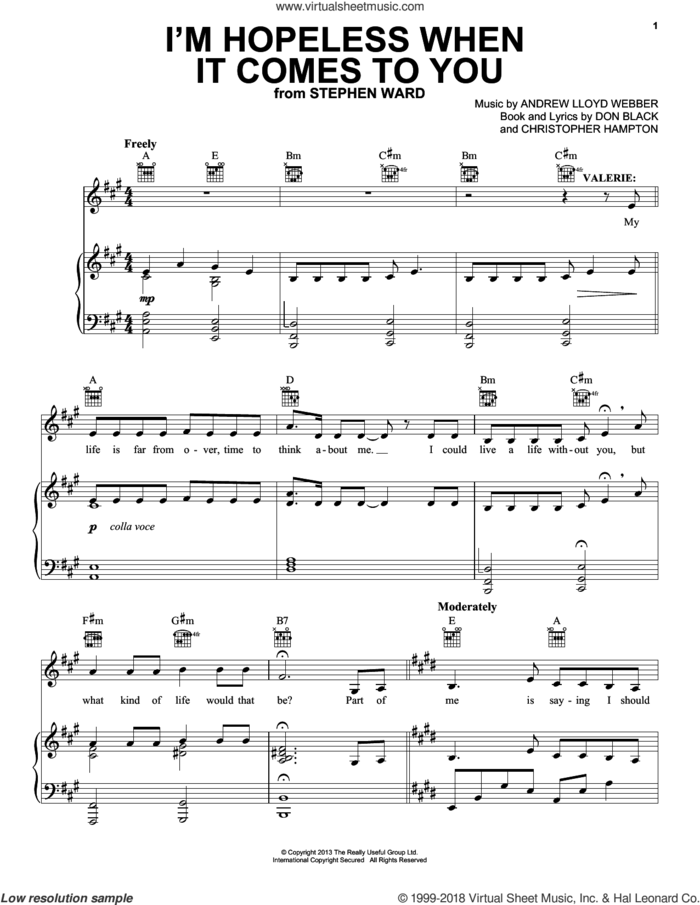 I'm Hopeless When It Comes To You (from Stephen Ward) sheet music for voice, piano or guitar by Andrew Lloyd Webber, Christopher Hampton and Don Black, intermediate skill level
