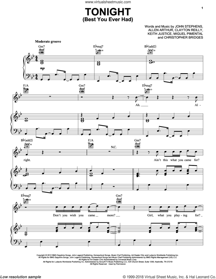 Tonight (Best You Ever Had) sheet music for voice, piano or guitar by John Legend, Allen Arthur, Christopher Bridges, Clayton Reilly, John Stephens, Keith Justice and Miguel Pimental, intermediate skill level