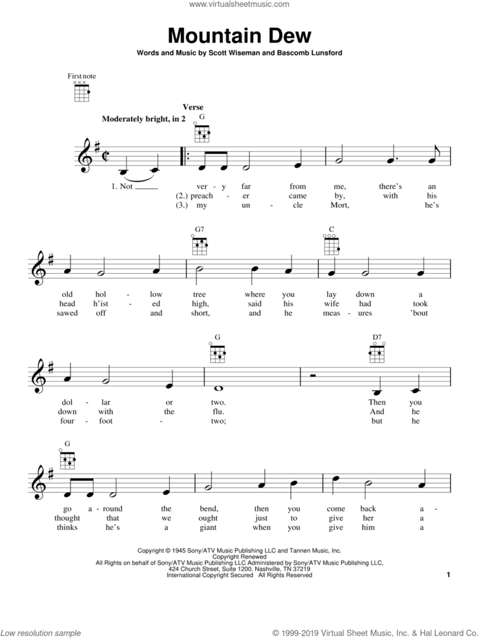 Mountain Dew sheet music for ukulele by Scott Wiseman and Bascomb Lunsford, intermediate skill level