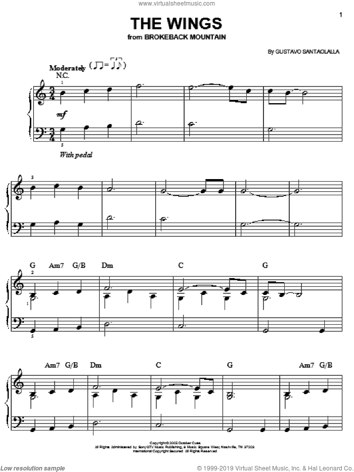 The Wings sheet music for piano solo by Gustavo Santaolalla and Brokeback Mountain (Movie), easy skill level