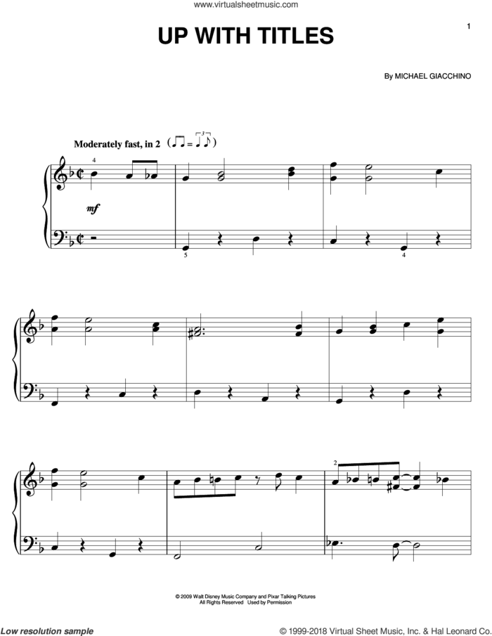 Up With Titles sheet music for piano solo by Michael Giacchino, easy skill level
