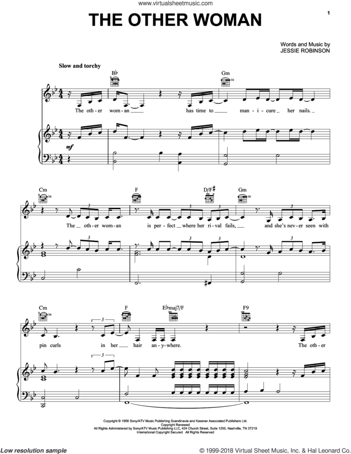 The Other Woman sheet music for voice, piano or guitar by Lana Del Rey, Nina Simone, Ray Parker Jr. and Jessie Mae Robinson, intermediate skill level
