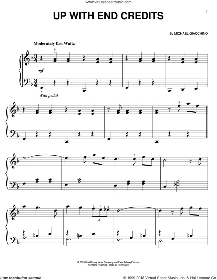 Up With End Credits sheet music for piano solo by Michael Giacchino, easy skill level