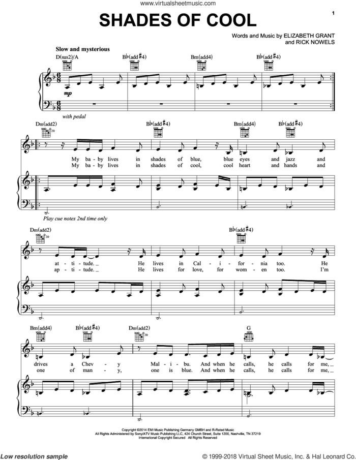 Shades Of Cool sheet music for voice, piano or guitar by Lana Del Rey, Elizabeth Grant and Rick Nowels, intermediate skill level