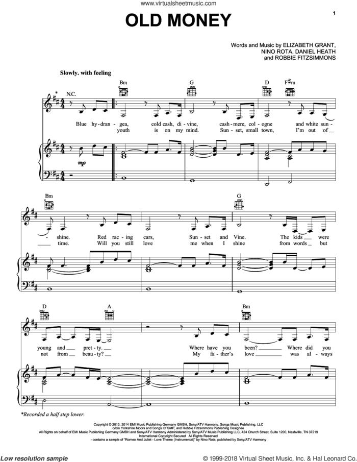 Old Money sheet music for voice, piano or guitar by Lana Del Rey, Daniel Heath, Elizabeth Grant, Nino Rota and Robbie Fitzsimmons, intermediate skill level