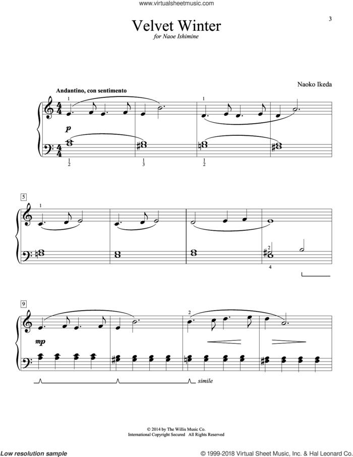 Velvet Winter sheet music for piano solo (elementary) by Naoko Ikeda, beginner piano (elementary)