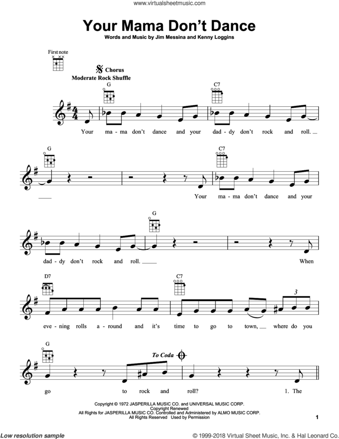 Your Mama Don't Dance sheet music for ukulele by Loggins And Messina, Poison, Jim Messina and Kenny Loggins, intermediate skill level