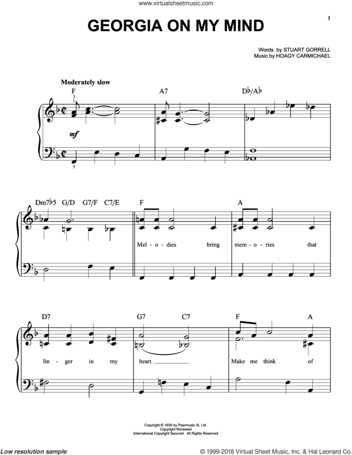 Georgia On My Mind sheet music for piano solo by Willie Nelson, Adam Perlmutter, Ray Charles, Hoagy Carmichael and Stuart Gorrell, beginner skill level