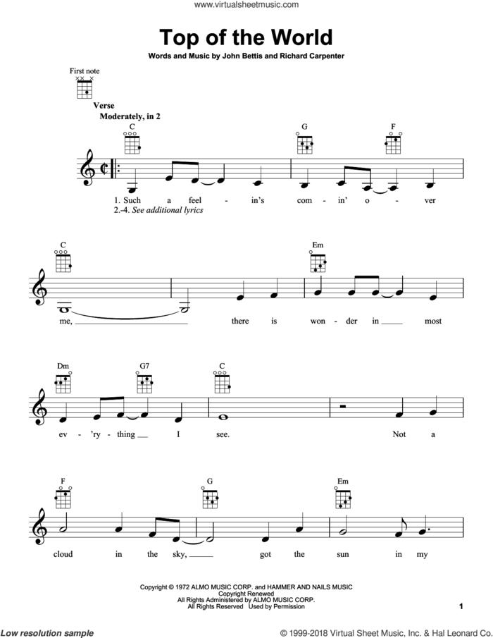 Top Of The World sheet music for ukulele by Carpenters, John Bettis and Richard Carpenter, intermediate skill level