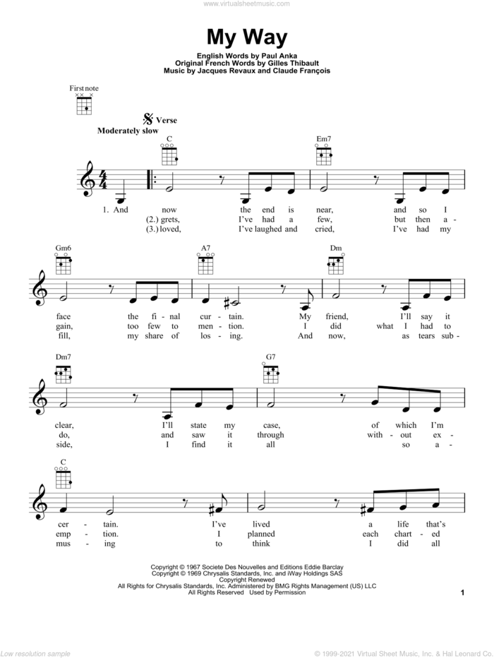 My Way sheet music for ukulele by Frank Sinatra, Claude Francois, Gilles Thibault, Jacques Revaux and Paul Anka, intermediate skill level