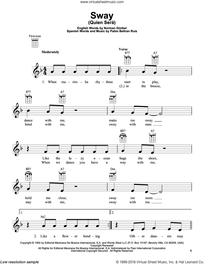 Sway (Quien Sera) sheet music for ukulele by Dean Martin, Norman Gimbel and Pablo Beltran Ruiz, intermediate skill level