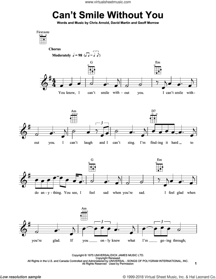 Can't Smile Without You sheet music for ukulele by Barry Manilow, Chris Arnold, David Martin and Geoff Morrow, intermediate skill level