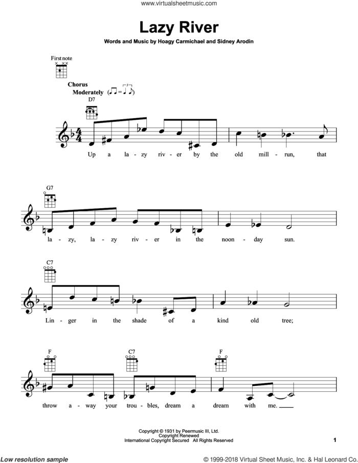 Lazy River sheet music for ukulele by Bobby Darin, Hoagy Carmichael and Sidney Arodin, intermediate skill level