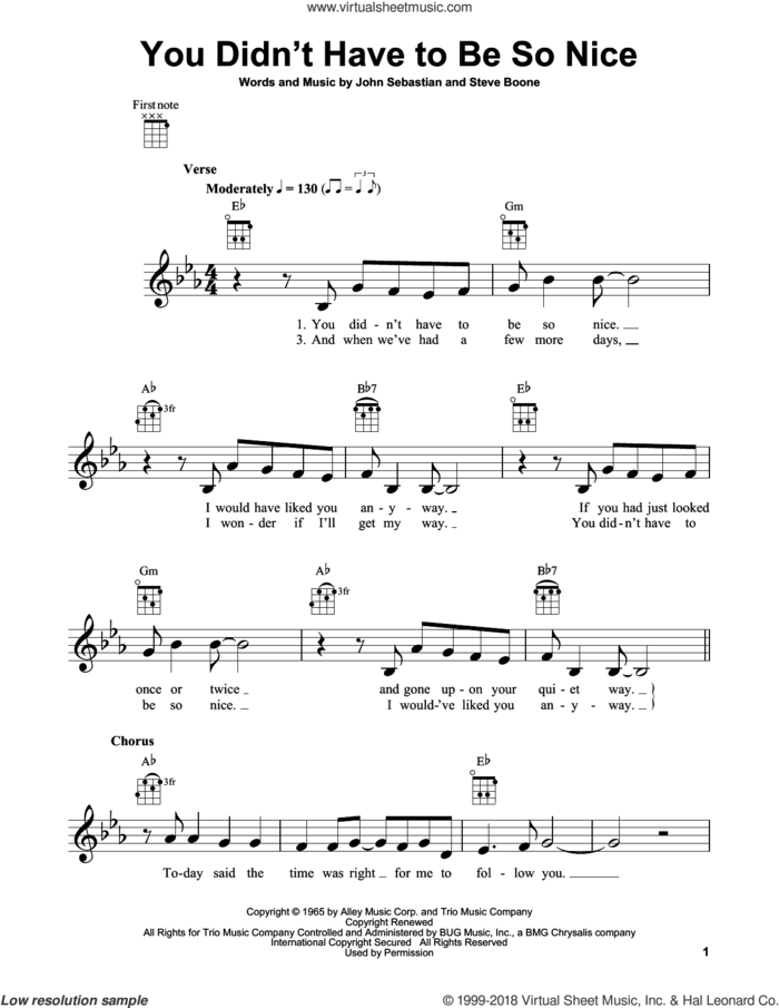 You Didn't Have To Be So Nice sheet music for ukulele by Lovin' Spoonful, John Sebastian and Steve Boone, intermediate skill level