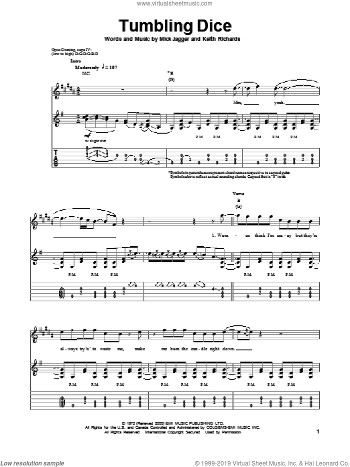Tumbling Dice sheet music for guitar (tablature, play-along) by The Rolling Stones, Keith Richards and Mick Jagger, intermediate skill level