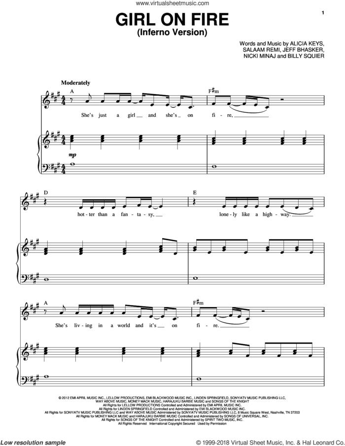 Girl On Fire (Inferno Version) sheet music for voice and piano by Alicia Keys Featuring Nicki Minaj, Alicia Keys, Billy Squier, Jeff Bhasker, Nicki Minaj and Salaam Remi, intermediate skill level