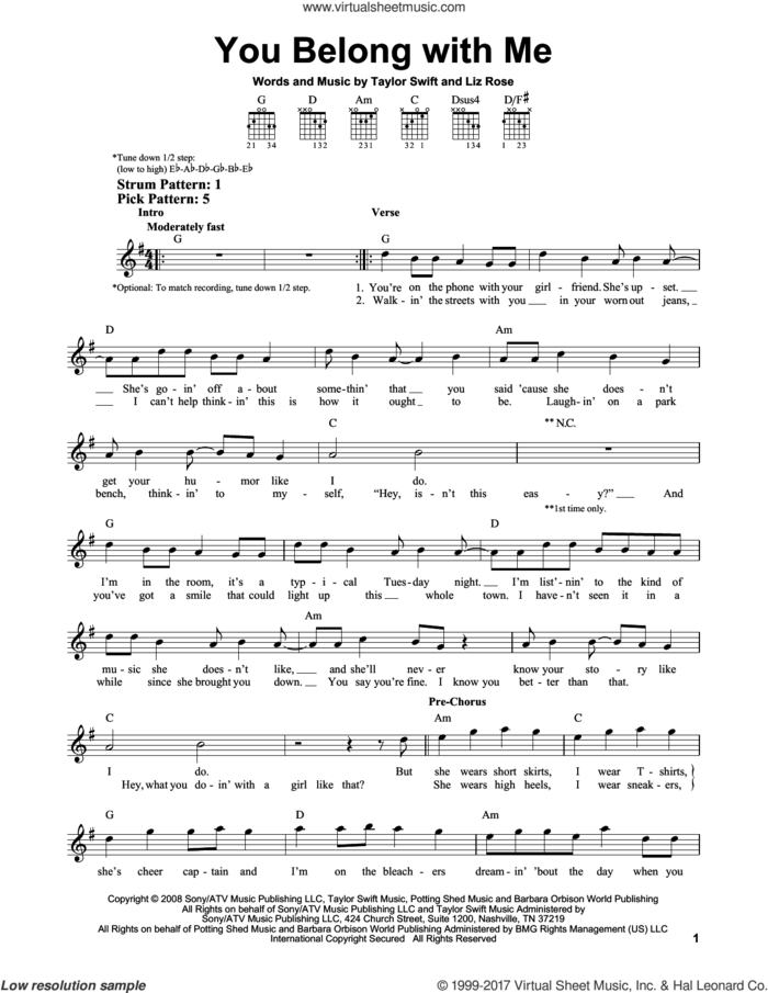 You Belong With Me sheet music for guitar solo (chords) by Taylor Swift and Liz Rose, easy guitar (chords)